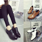 Womens PU Leather Flats Round Toe Oxfords Lace-up Moccasins Brogues Preppy Shoes