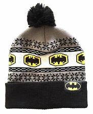 DC COMICS BATMAN LOGO FAIR ISLE NORDIC CUFF POM BEANIE KNIT WINTER HAT SKI CAP