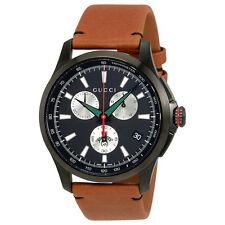 Gucci G-Timeless Black Dial Mens  Chronograph Leather Watch YA126271