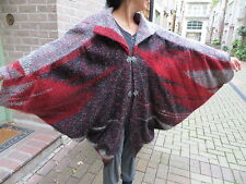 MINT/VTG 80s/FREESIZE/BLOCK WOOL/COCOON CAPE,PONCHO/SILVER BUTTONS/LINED
