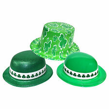 Set of 3 St Patrick's Day Plastic Fancy Dress Shamrock Hats
