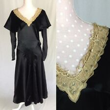 Vintage 1920's/1930's Black Silk Dress With Lace And Capelet