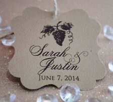 100 Wine Grapes Personalized Wedding Favor Tag, Bridal Shower Favor Tag