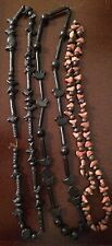 Three 3 Vintage Handmade Clay Artisan Beaded Necklace~Mexico~Birds