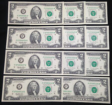 Gift Set of 12 $2 Two Dollar Bills with Nifty Serial Numbers, Crisp Uncirculated
