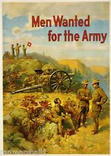 1915 Men Wanted Army WWI American Patriotic Wartime Advertisement Poster Print