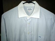 *****Ascot Chang Custom Made Blue & Gray Check Dress Shirt--15 Inch Neck