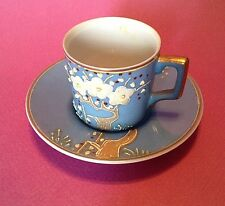 Blue Demitasse Tea Cup And Saucer, Hand Applied Raised Moriage, Occupied Japan