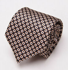 NWT $230 BRIONI Slim Satin Silk Tie Charcoal Black-Light Brown Circle Print