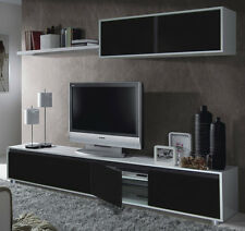 Aida TV Unit Living Room Furniture Set Media Wall Black on White Gloss Melamine
