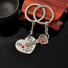 "Lover ""I Love You"" Heart+Arrow + Key Couple Key Chain Ring Keyring Keyfob 2PCS"