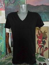 RALPH LAUREN POLO Blank Black V Neck Classic Fit T Shirt Medium