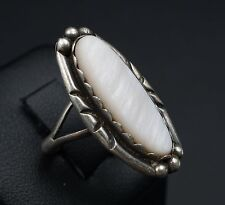 Vintage Helen Slim Navajo Sterling Silver Mother of Pearl Ring Size 6.25 RS1224