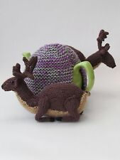Scottish Deer in the Heather Tea Cosy Knitting Pattern by TeaCosyFolk