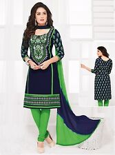 Radiant Cotton Embroidered Dress Material With Chiffon Dupatta D.No PH9285