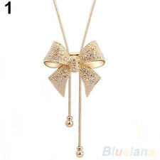 New Elegant Sweet Crystal Rhinestone Bow Bowtie Pendant Necklace Sweater Chains