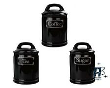 VINTAGE STYLE BLACK CERAMIC TEA COFFEE & SUGAR STORAGE CONTAINERS CANISTERS TINS