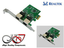 Carte PCIE 10/100/1000 2 PORTS LAN GIGABIT ETHERNET - LOW HIGH PROFILE - REALTEK