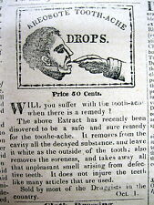 1838 newspaper w illustrated ad DENTAL CREOSOTE DROPS to cure TOOTHACHE Teeth