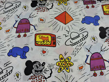 RARE Vintage Keith Haring Print Art Fabric MICKEY MOUSE 1984 2yds x 44""