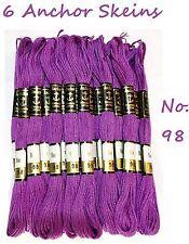 6 Anchor Cotone Punto Croce 8m Ricamo Filo Matasse Molti Base Viola Colore