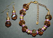 Purple Amber Crystal Gold Plated Adjustable Bracelet and Earrings Jewelry Set