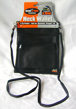 NEW BLACK NECK WALLET WITH STRAP 2 ZIP POCKETS MONEY PASSPORT TRAVEL HOLIDAY PMS