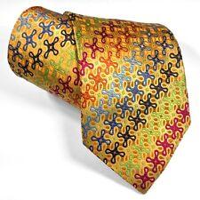 New Tie Multi-color Geometric Gold Yellow Medallions Silk La Vita De Moda Italy