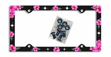 Hibiscus Flowers License Plate Frame Gifts Hot Pink Black  Plastic Screws TH