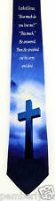 I Asked Jesus Mens Neck Tie Religious Necktie Jesus Christian Cross Blue New