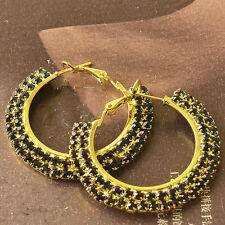 Around Green Cubic Zirconia 9K Yellow Gold Filled Womens Hoop Earrings F6161