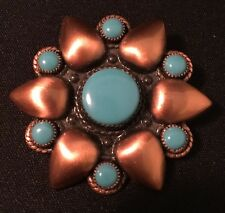 Vtg Bell Trading Post Native American Copper Faux Turquoise Brooch Pin Flower