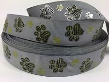 "BTY 7/8"" Gray Textured Gold Paw Prints Grosgrain Ribbon Collars Lisa"