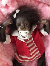 Cherish bambole UK RINATO Baby Kiwi Ragazza Gorilla Pannolino magnetico radicato Capelli