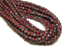 4mm Opaque Red Picasso Czech Glass Fire Polished Round Beads (50) #1669