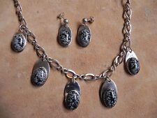 Snowflake Obsidian & Sterling Silver Necklace & Earrings SET Navajo