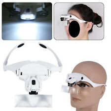 Headband Headset Head LED Lamp Light Jeweler Magnifier Glass Loupe Adjustable JZ