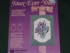 Vtg 80s Faux Ever Yours Purple Iris FlowersRibbon Matt Cross Stitch Kit NIP #lk