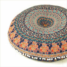 "Large Mandala Floor Pillows 32"" Round Meditation Cushion Cover Ottomans Poufs"