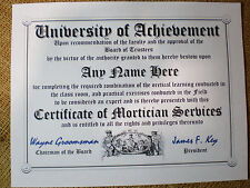 MORTICIAN ~ FUNERAL DIRECTOR  DIPLOMA ~MAN cave ~ certificate ~ gift