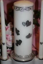 Silver Metallic Hearts Wedding White Unity Candle Set Tapers