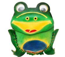 Ladies Green Frog Leather Coin Purse Wallet with removable wrist strap