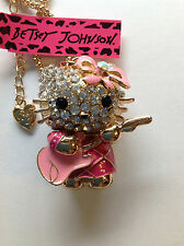 "CRYSTAL CAT w/ PINK GUITAR 28"" Pendant Necklace Betsey Johnson GIFT BOX"
