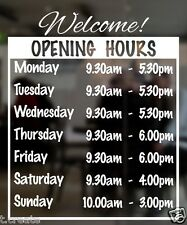 OPENING HOURS Designer Decal Shop Front, Customizable Store Detail. LARGE Size.