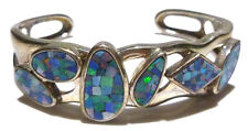 """WHITNEY KELLY """"WK"""" THICK STERLING SILVER OPAL MOSAIC WOMENS CUFF BRACELET"""