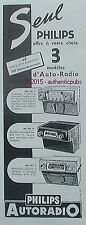 PUBLICITE PHILIPS AUTORADIO POSTE MODELE NX 601 NF 593 NX 493 DE 1951 FRENCH AD