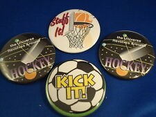 SPORTS Lot of 4 BUTTONS pins Irregular FREE S/H HOCKEY BASKETBALL SOCCER pinback