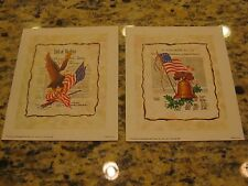 2 American Flag Lithro 1975 Congress Bill of Rights Eagle Liberty Bell FL-414