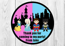35 x Personalised Princess and Superhero Birthday Party Stickers Thank You Seals