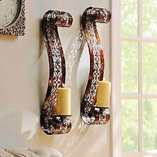 "24.5"" Set of 2 Distressed Bronze Finish Metal Scroll Pillar Candle Wall Sconce"